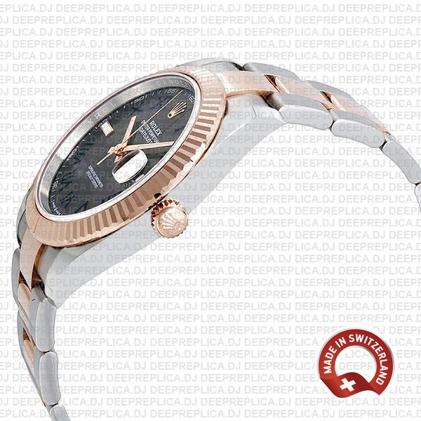 Rolex Datejust 18k Rose Gold Two-Tone Slate Grey Roman Dial, Stainless Steel Replica Watch
