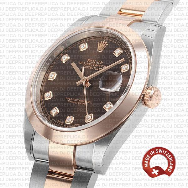 Rolex Datejust 41 Rose Gold Two-Tone Chocolate Diamond Dial Replica Watch