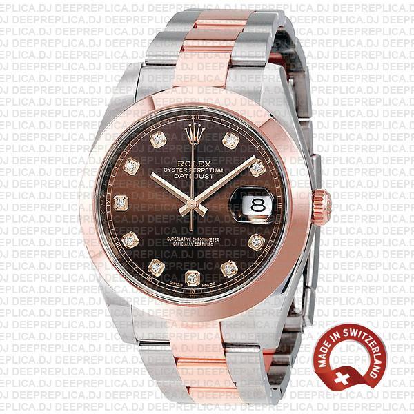 Rolex Datejust 41 Rose Gold Two-Tone Chocolate Diamond Dial Replica