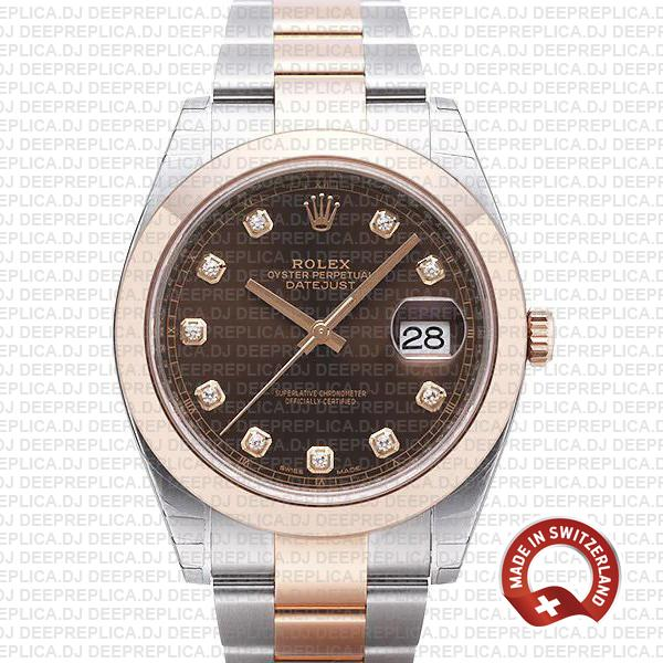 Rolex Datejust 41 Rose Gold Two-Tone Chocolate Diamond Dial