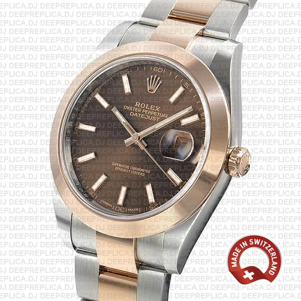 Rolex Datejust 41 18k Rose Gold Two-Tone 904L Stainless Steel Smooth Bezel Chocolate Dial Replica Watch