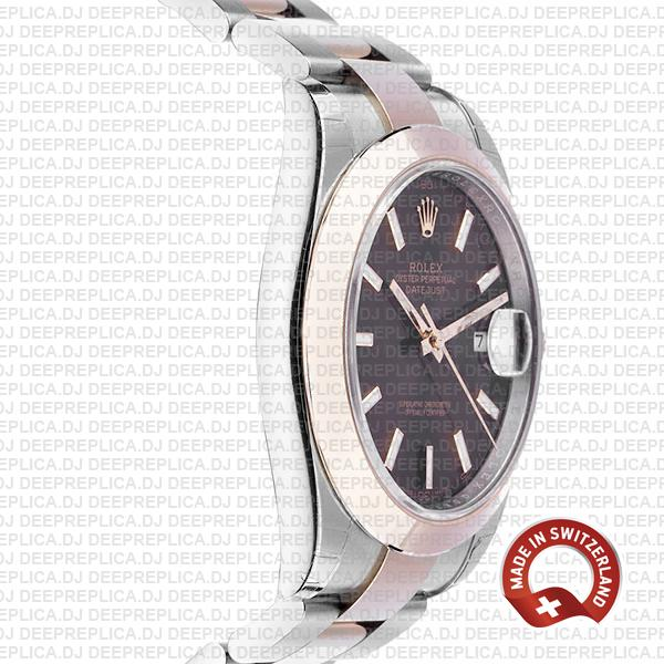 Rolex Datejust 41 18k Rose Gold Two-Tone 904L Stainless Steel Smooth Bezel Chocolate Dial Replica