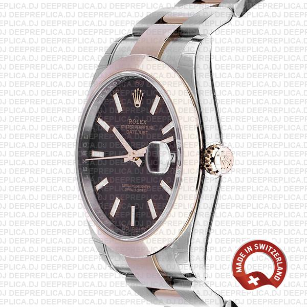Rolex Datejust 41 18k Rose Gold Two-Tone 904L Stainless Steel Smooth Bezel Chocolate Dial