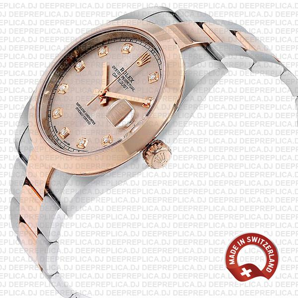 Rolex Datejust 41 18k Rose Gold Two-Tone, Steel Smooth Bezel Pink Dial Diamond Markers 41mm