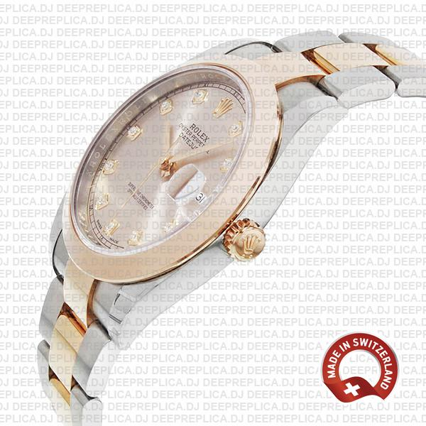 Rolex Datejust 41 18k Rose Gold Two-Tone, Steel Smooth Bezel Pink Dial Diamond Markers 41mm Replica Watch