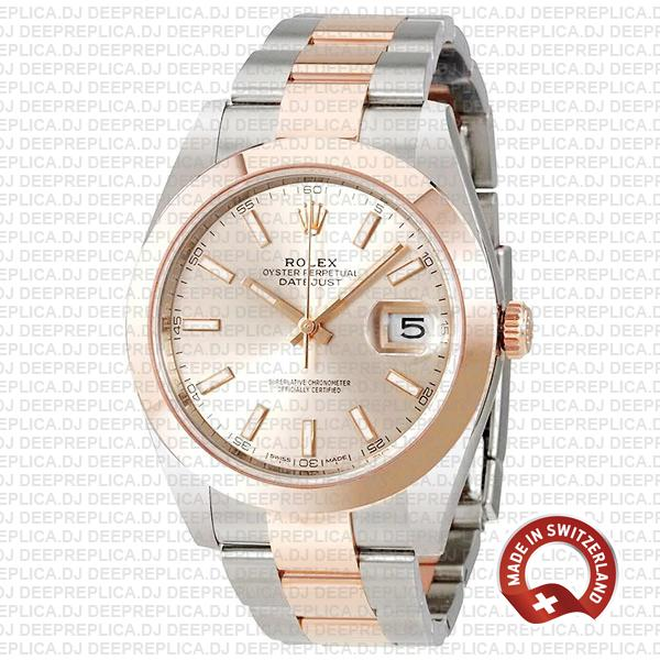 Rolex Datejust 41 Rose Gold Pink Dial Two-Tone Replica Watch