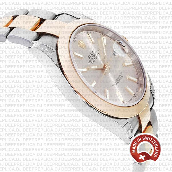 Rolex Datejust 18k Rose Gold Two-Tone, Smooth Bezel Pink Dial Stick Markers 41mm