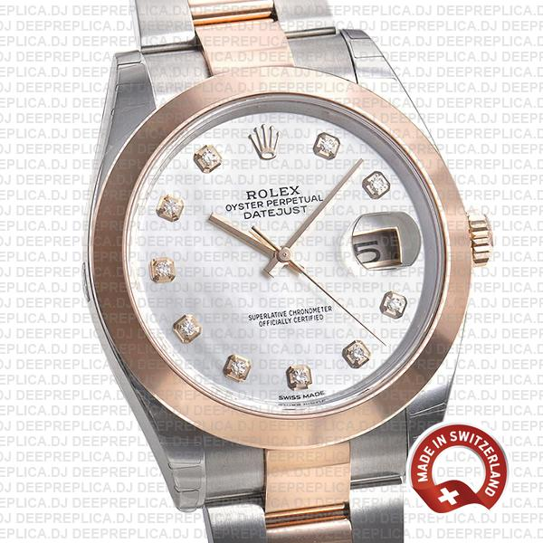 Rolex Datejust 41mm White Diamond Dial Rolex Clone Watch