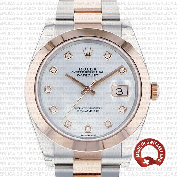 Rolex Datejust 41 18k Rose Gold Two-Tone Smooth Bezel with Mother of Pearl White Diamond Dial