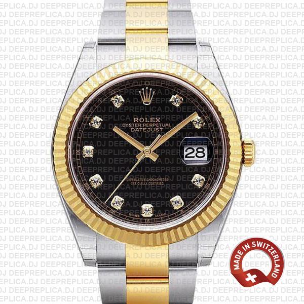 Rolex Datejust 41 Two-Tone Black Dial Diamonds Deepreplica Watch