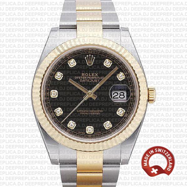 Rolex Datejust 41 Two-Tone Black Dial Diamonds   Deepreplica
