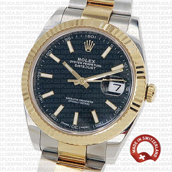 Rolex Datejust 41 18k Yellow Gold Two-Tone 904L Steel Bracelet with Fluted Bezel Black Dial Stick Markers 41mm