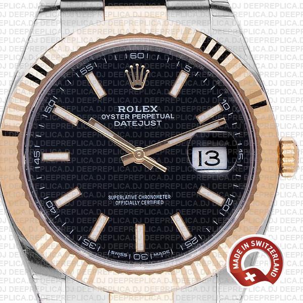 Rolex Datejust Two-Tone Gold Black Dial Swiss Replica Watch