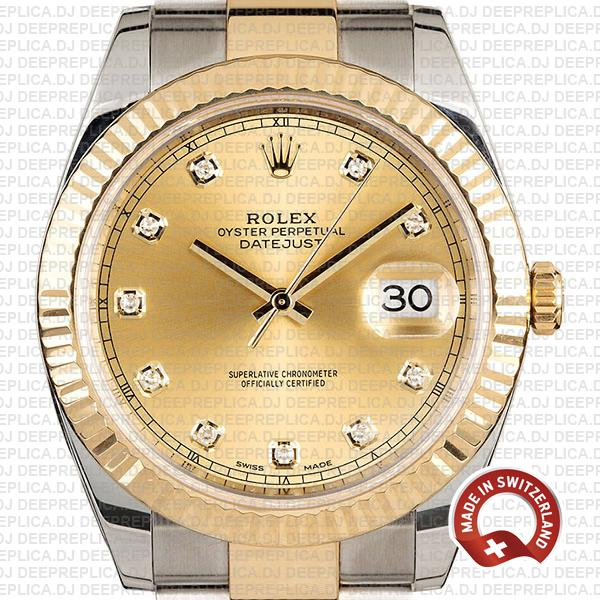 Rolex Datejust 18k Yellow Gold Two-Tone 904L Stainless Steel Gold Diamonds Dial 41mm Replica Watch