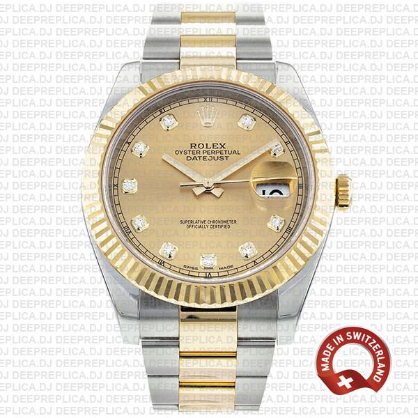 Amazing Rolex Datejust 41 Two-Tone Diamonds Dial Replica Watch