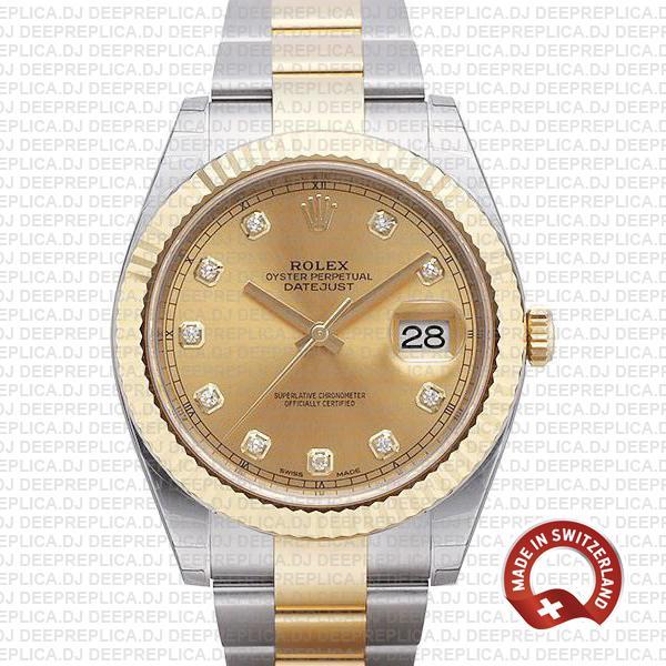 Amazing Rolex Datejust 41 Two-Tone Diamonds Dial Replica