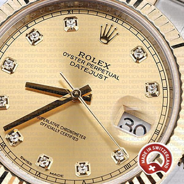 Rolex Datejust 18k Yellow Gold Two-Tone 904L Stainless Steel Gold Diamonds Dial 41mm Replica