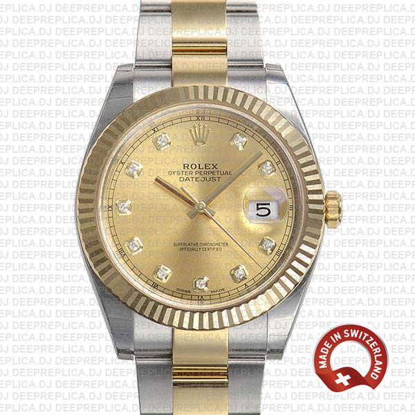 Rolex Datejust 18k Yellow Gold Two-Tone 904L Stainless Steel Gold Diamonds Dial 41mm