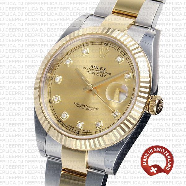 Amazing Rolex Datejust 41 Two-Tone Diamonds Dial Swiss Replica Watch