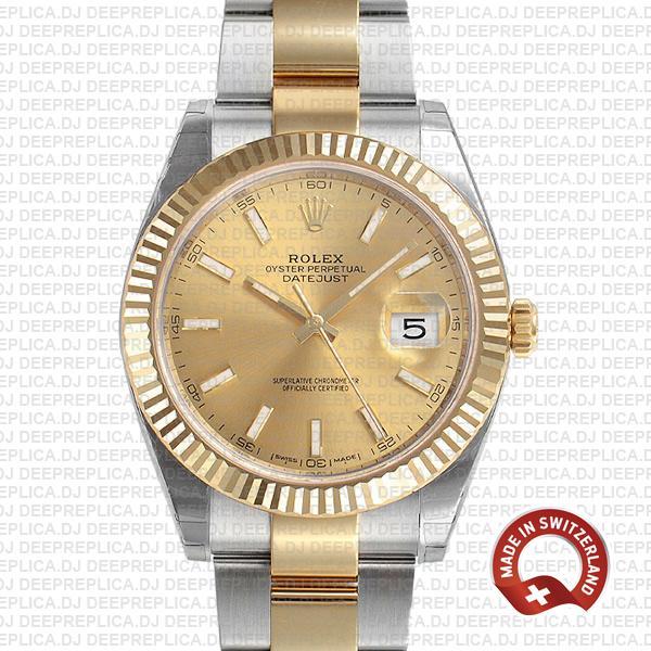Rolex Datejust Gold Dial Two-Tone Fluted Bezel Best Swiss Replica Watch