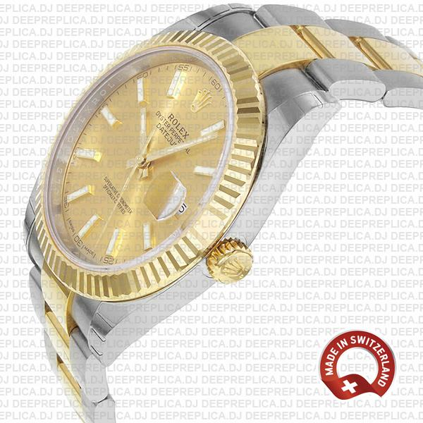 Rolex Oyster Perpetual Datejust 41 18k Yellow Gold Two-Tone Gold Dial 41mm Replica