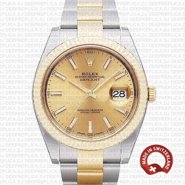 Rolex Datejust Gold Dial Two-Tone | Fluted Bezel Replica Watch