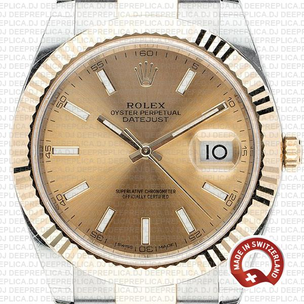 Rolex Oyster Perpetual Datejust 41 18k Yellow Gold Two-Tone Gold Dial 41mm Replica Watch