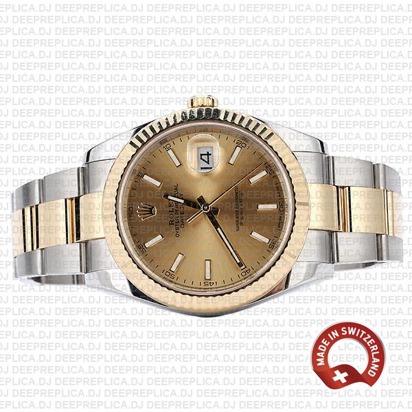 Rolex Datejust 41 Oyster 2 Tone 18k Yellow Gold Fluted Bezel Gold Dial Stick Markers 126333 Swiss Replica