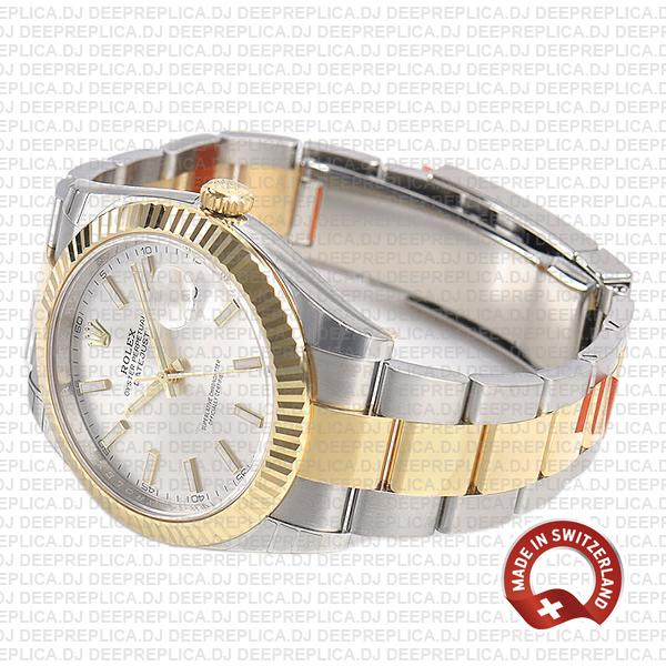 Rolex Oyster Perpetual Datejust 41 18k Yellow Gold Two-Tone, Silver Dial 41mm 904L Steel Fluted Bezel Replica Watch
