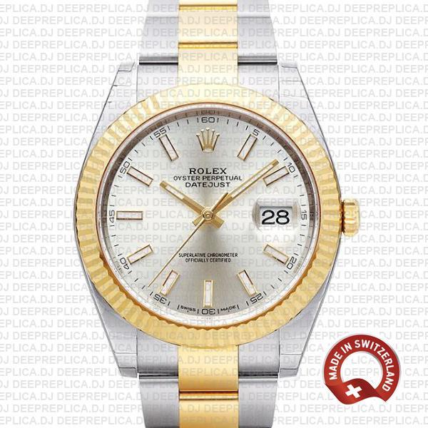 Rolex Datejust Two-Tone Silver Dial | Swiss Clone Rolex Watch