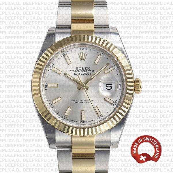 Rolex Oyster Perpetual Datejust 41 18k Yellow Gold Two-Tone, Silver Dial 41mm 904L Steel Fluted Bezel