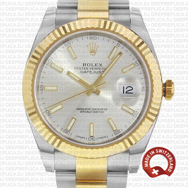 Rolex Oyster Perpetual Datejust 41 18k Yellow Gold Two-Tone, Silver Dial 41mm 904L Steel