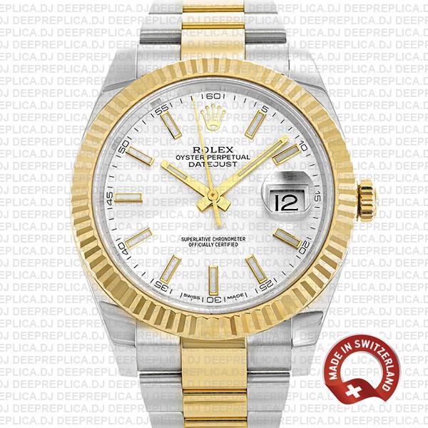 Rolex Datejust Two-Tone Silver Dial Best Swiss Clone Rolex Watch