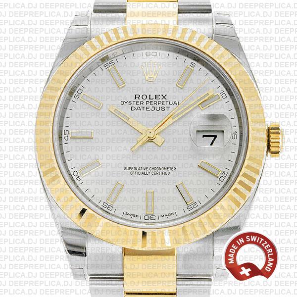 Rolex Datejust Two-Tone Silver Dial Swiss Clone Rolex Watch