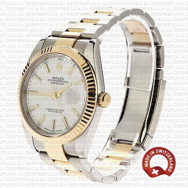 Rolex Oyster Perpetual Datejust 41mm 18k Yellow Gold Two-Tone Stainless Steel White Dial
