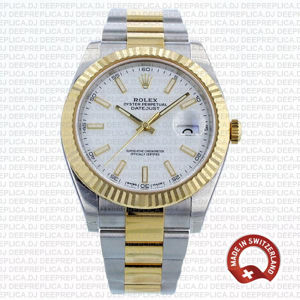 Best Rolex Replica Datejust White Dial Two-Tone 41mm Watch
