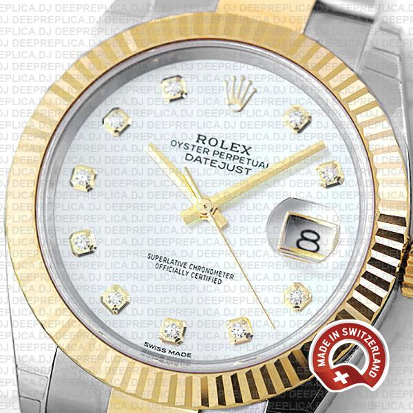 Rolex Datejust 41mm Replica Two-Tone 18k Yellow Gold Fluted Bezel White Dial adorned with Moissanite Diamonds Replica Watch