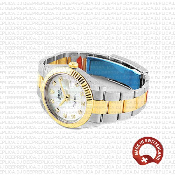 Rolex Datejust 41mm Replica Two-Tone 18k Yellow Gold Fluted Bezel White Dial adorned with Moissanite Diamonds