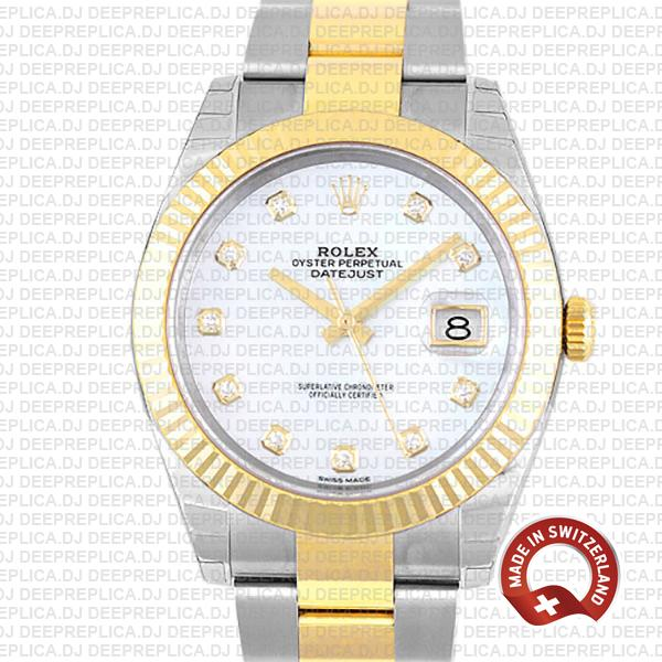 Rolex Datejust 41mm Replica Two-Tone 18k Yellow Gold Fluted Bezel