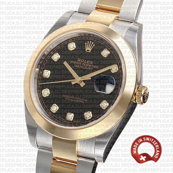 Rolex Datejust Two-Tone 18k Yellow Gold 904L Steel Smooth Bezel Black Dial 41mm Replica Watch