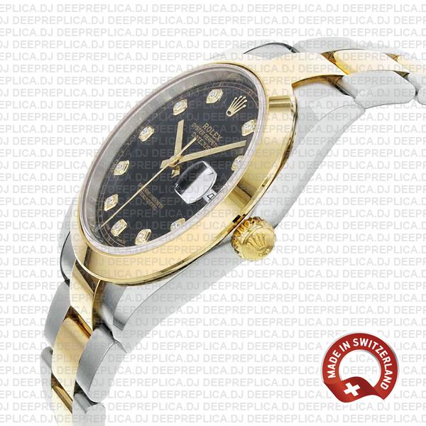 Rolex Datejust Two-Tone 18k Yellow Gold 904L Steel Smooth Bezel Black Dial 41mm