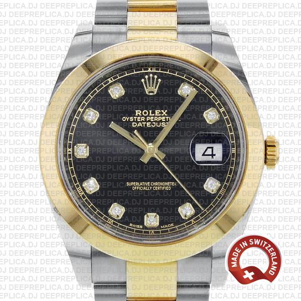 Rolex Datejust 41 Replica Black Dial Diamonds Two-Tone Watch