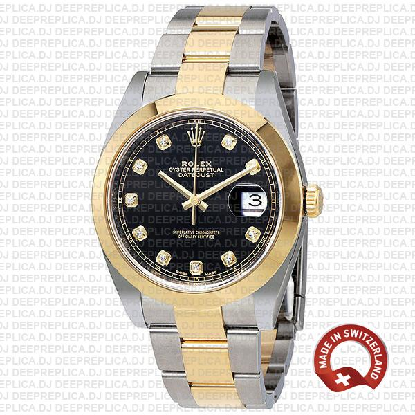 Rolex Datejust Two-Tone 18k Yellow Gold 904L Steel Smooth Bezel Black Dial