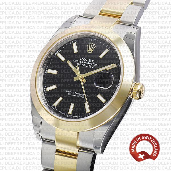 Rolex Datejust 41mm 18k Yellow Gold/904L Steel Bracelet Two-Tone with Smooth Bezel Black Dial
