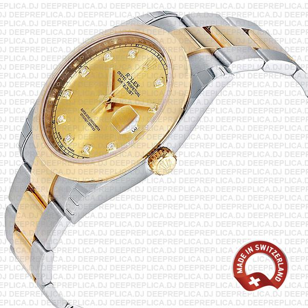 Rolex Datejust 41 18k Yellow Gold Two-Tone 904L Steel Smooth Bezel Gold Dial Diamond Markers 41mm