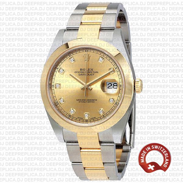 Rolex Datejust 41mm Two-Tone Gold Diamonds Swiss Replica Watch