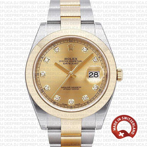 Rolex Datejust 41mm Two-Tone Gold Diamonds | Swiss Replica