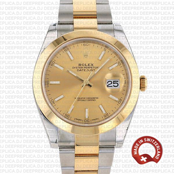 Rolex Oyster Perpetual Datejust 41 Two-Tone 18k Yellow Gold, in Oystersteel Bracelet with Smooth Bezel Gold Dial Replica