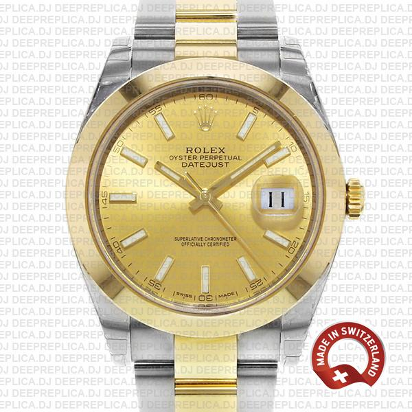 Rolex Oyster Perpetual Datejust 41 Two-Tone 18k Yellow Gold, in Oystersteel Bracelet with Smooth Bezel Gold Dial Replica Watch