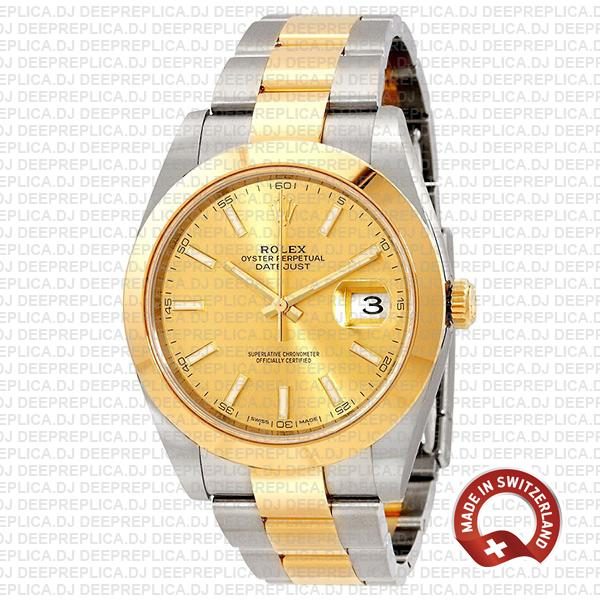 Rolex Oyster Perpetual Datejust 41 Two-Tone 18k Yellow Gold, in Oystersteel Bracelet with Smooth Bezel